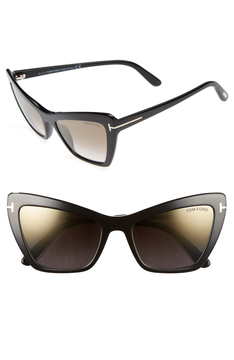 TOM FORD Valesca 55mm Cat Eye Sunglasses, Main, color, 001