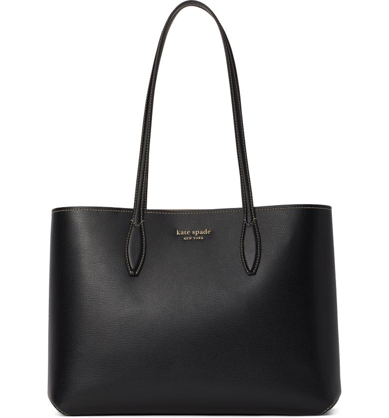 KATE SPADE NEW YORK All Day Large Leather Tote, Main, color, BLACK