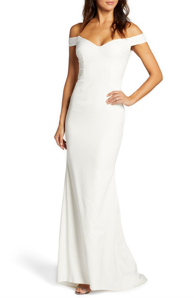 NOEL AND JEAN BY KATIE MAY Alpha Off the Shoulder Trumpet Wedding Dress, Main, color, IVORY