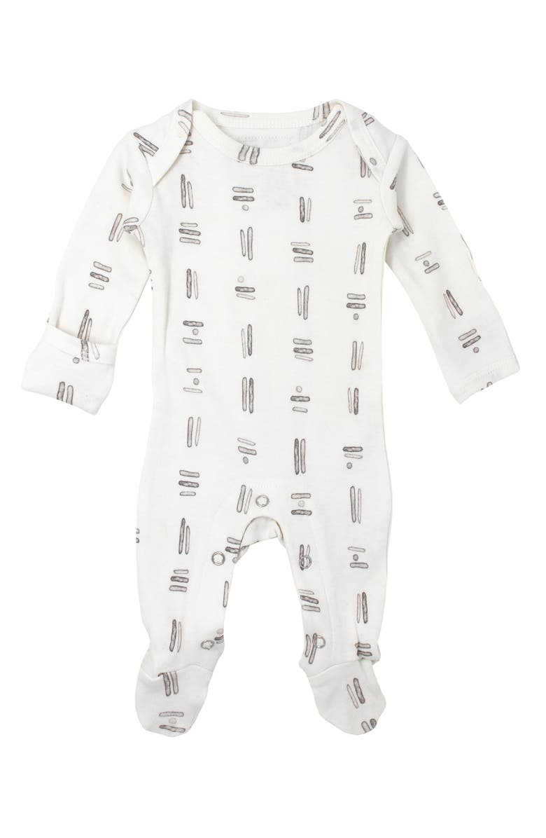 L'OVEDBABY Graphic Organic Cotton Footie, Main, color, 100