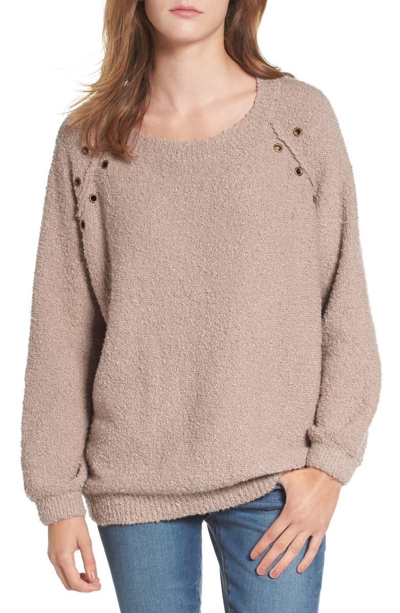DREAMERS BY DEBUT Grommet Detail Sweater, Main, color, MOCHA