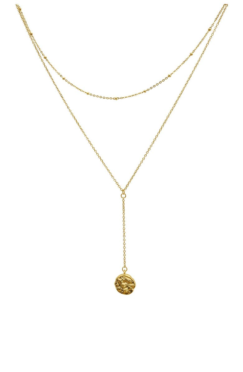 ADORNIA 14K Gold Plated Molten Coin Layered Y-Drop Necklace, Main, color, YELLOW