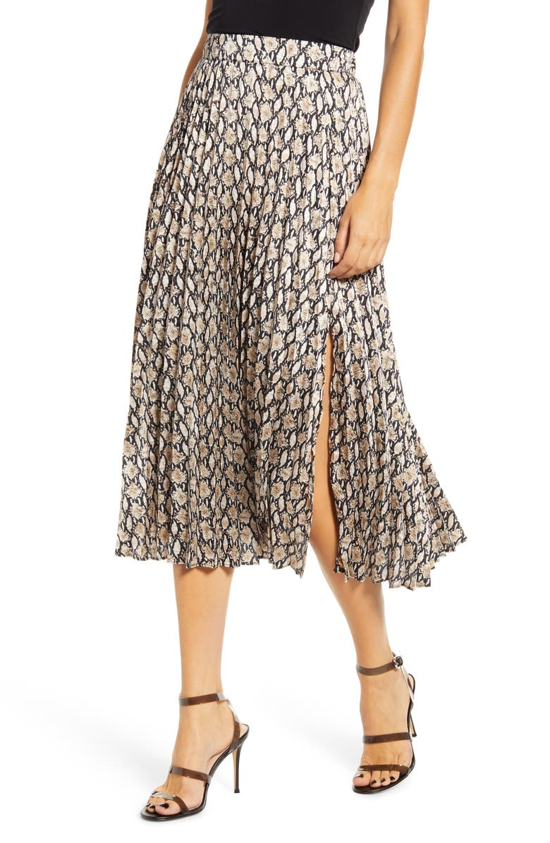 ALL IN FAVOR Snake Print Pleated Skirt, Main, color, 250