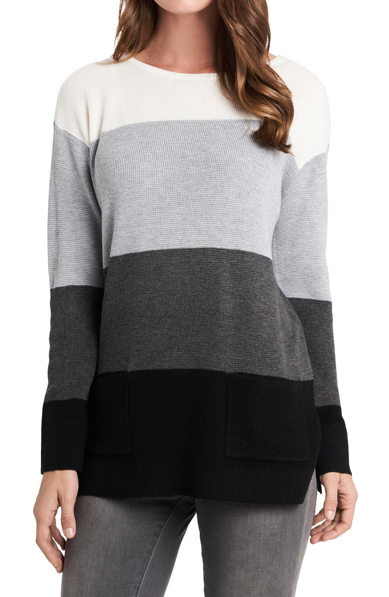 VINCE CAMUTO Colorblock Pocket Sweater, Main, color, RICH BLACK