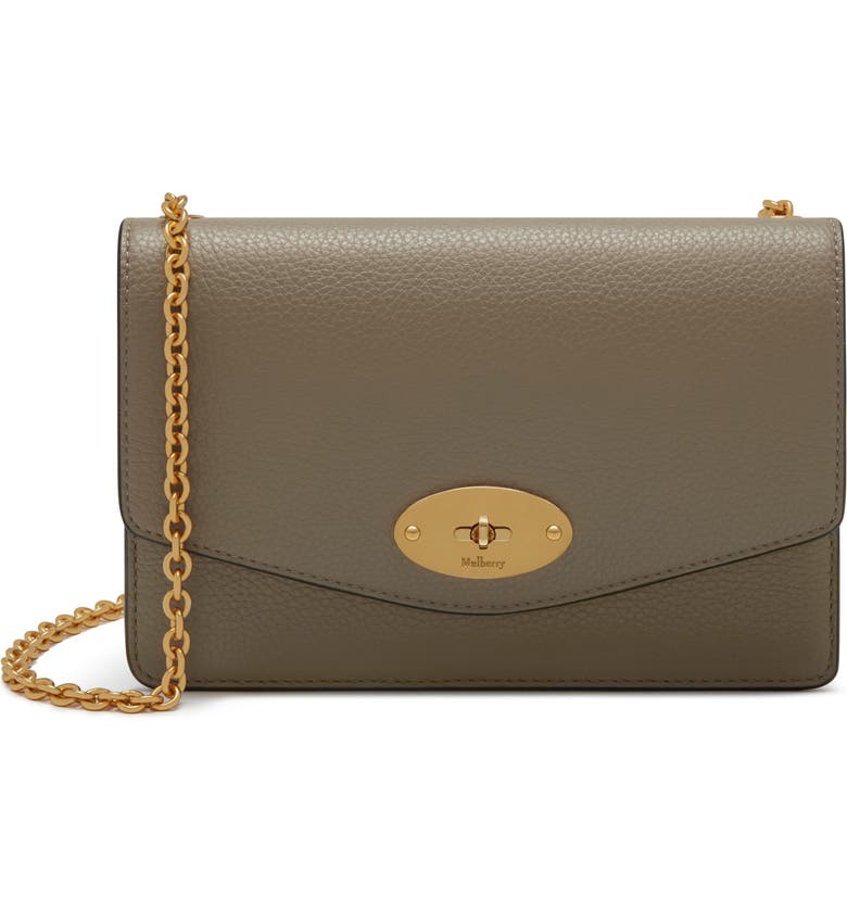 MULBERRY Small Darley Leather Clutch, Main, color, SOLID GREY