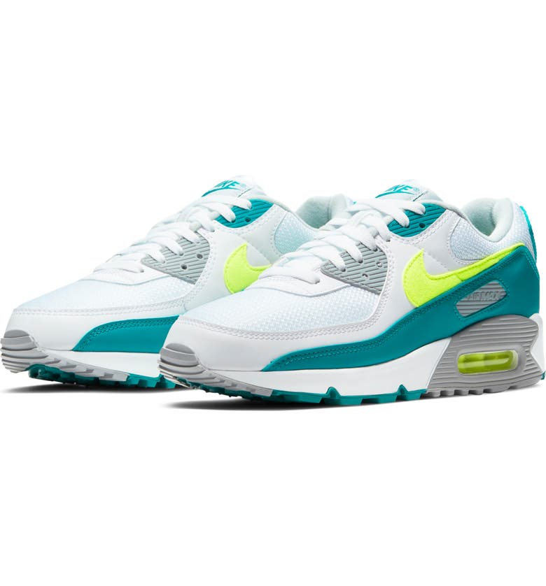 NIKE Air Max 90 Sneaker, Main, color, WHITE/ HOT LIME/ SPRUCE/ GREY