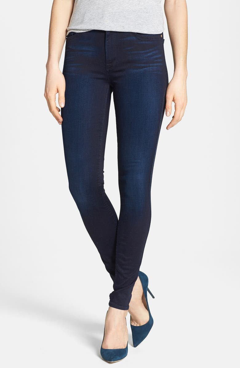 7 FOR ALL MANKIND <sup>®</sup> High Rise Skinny Jeans, Main, color, BLUE BLACK SATEEN