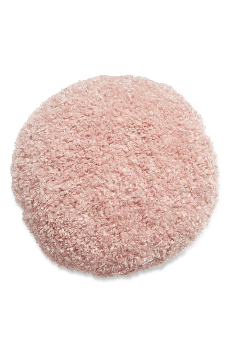 NORDSTROM Luxe Shag Round Faux Fur Accent Pillow, Main, color, PINK PUFF