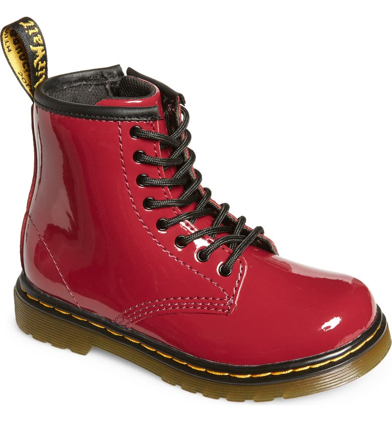 DR. MARTENS Kids' 1460 Lace-Up Boot, Main, color, DARK SCOOTER RED PATENT