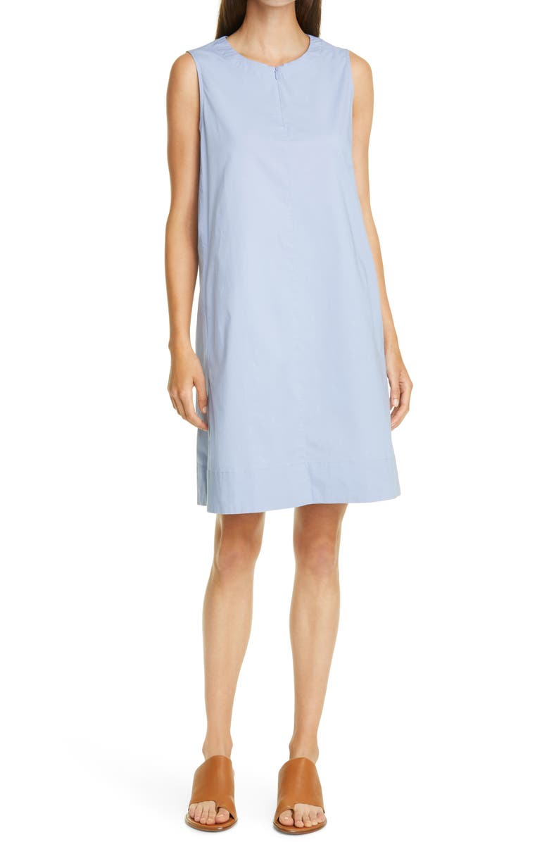 EILEEN FISHER Zip Neck Stretch Organic Cotton Dress, Main, color, LARKSPUR