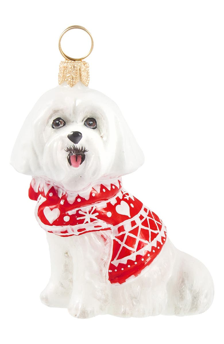 JOY TO THE WORLD COLLECTIBLES 'Dog in Nordic Sweater' Ornament, Main, color, MALTESE