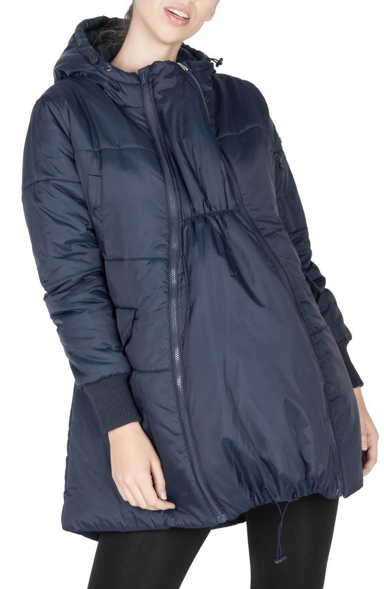 MODERN ETERNITY 3-in-1 Hooded Maternity Puffer Jacket, Main, color, NAVY