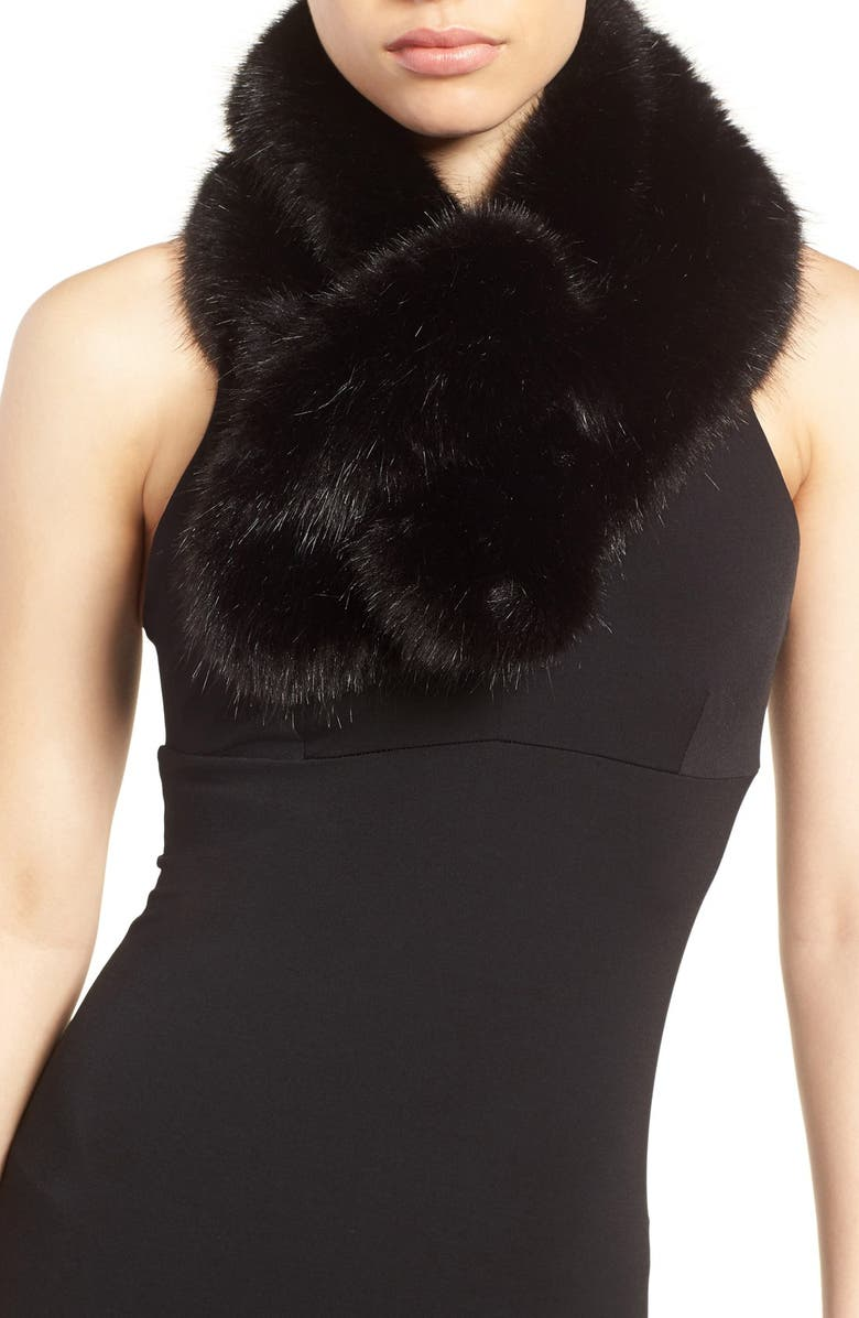 HALOGEN<SUP>®</SUP> Faux Fur Pull Through Scarf, Main, color, 001