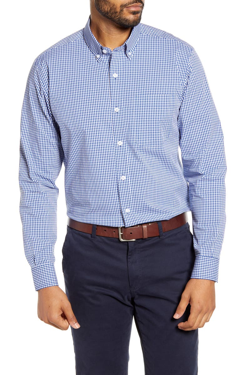 CUTTER & BUCK Anchor Classic Fit Gingham Shirt, Main, color, TOUR BLUE
