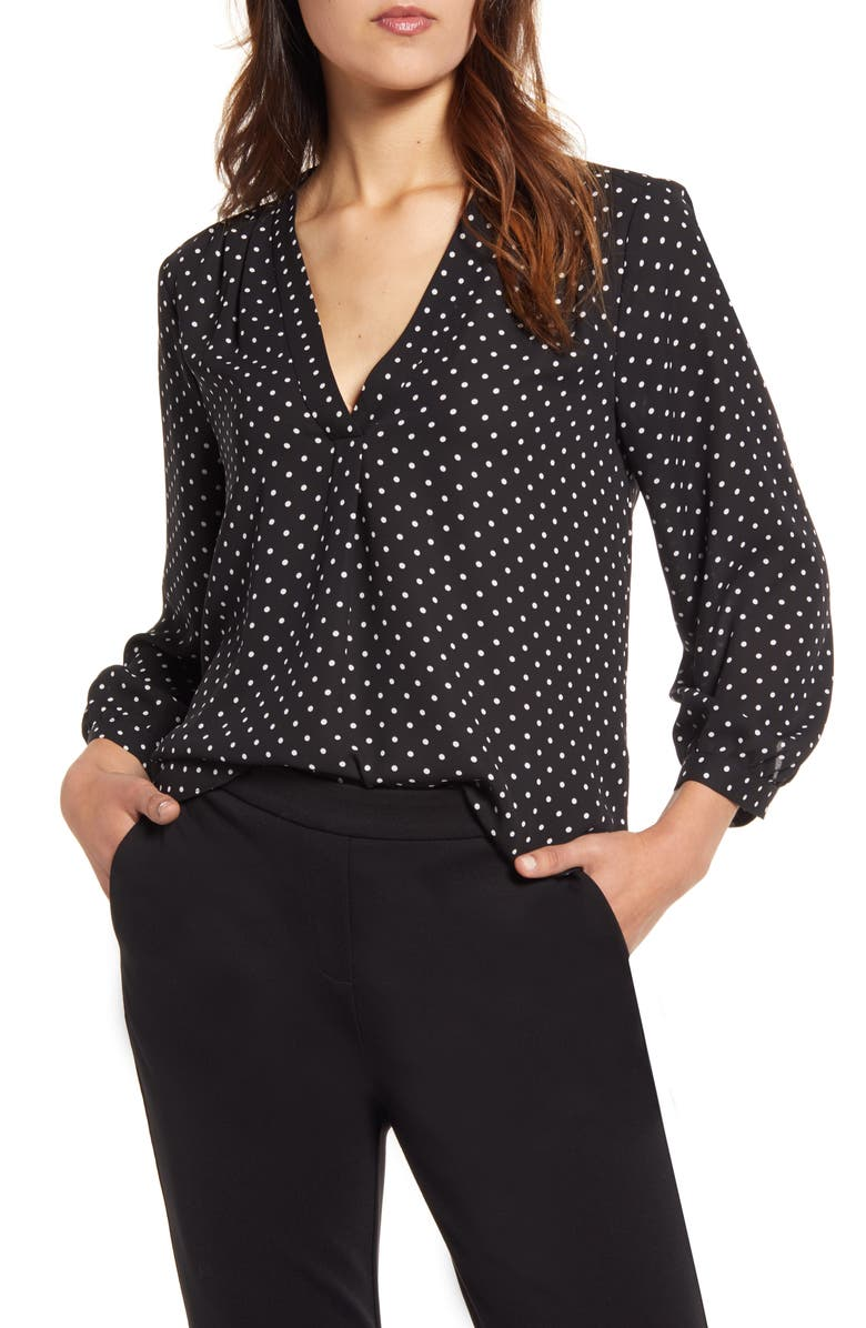 VINCE CAMUTO Polka Dot V-Neck Top, Main, color, RICH BLACK