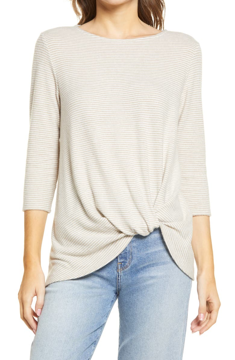GIBSONLOOK Gibson Cozy Twist Front Pullover, Main, color, OATMEAL/ IVORY STRIPE