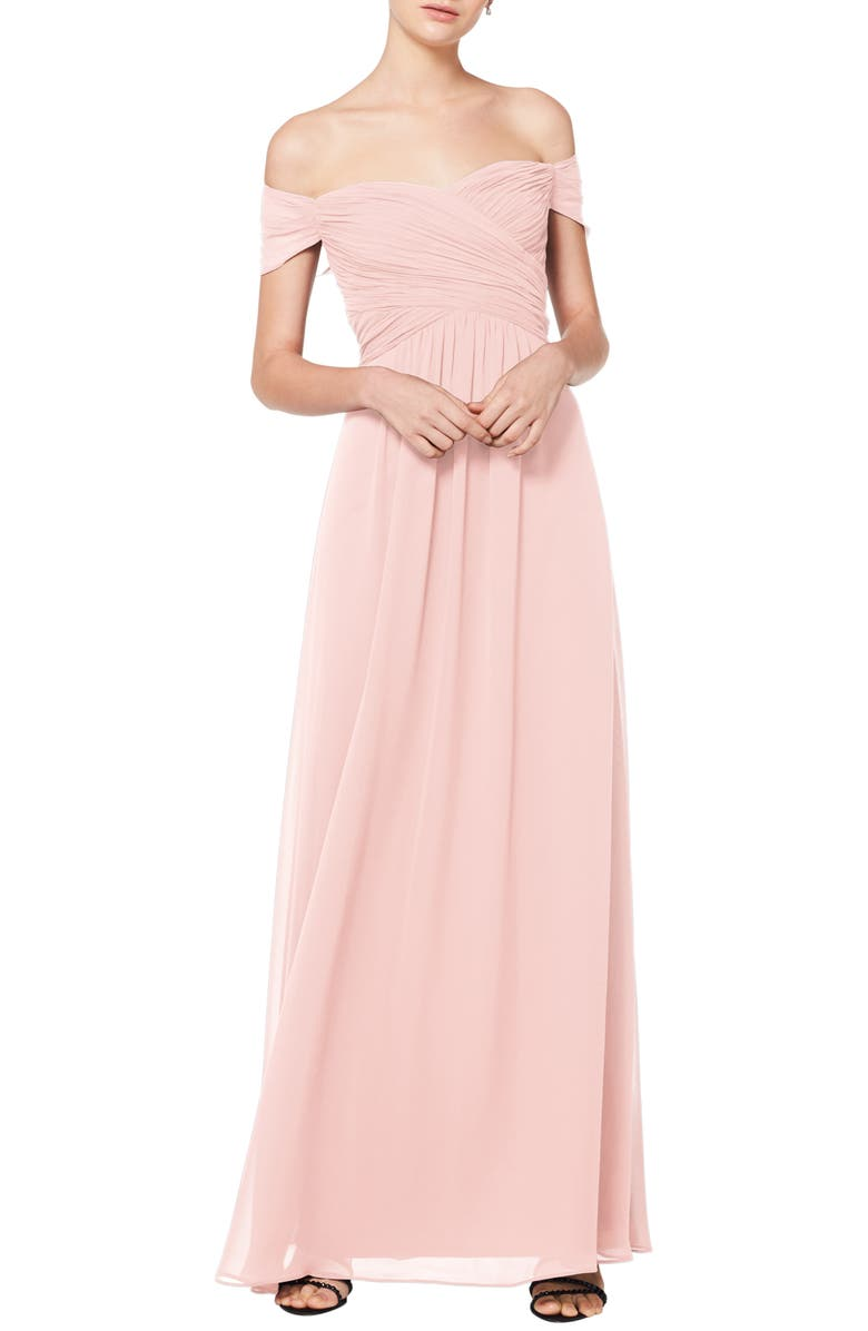 #LEVKOFF Off the Shoulder Chiffon A-Line Gown, Main, color, PETAL PINK