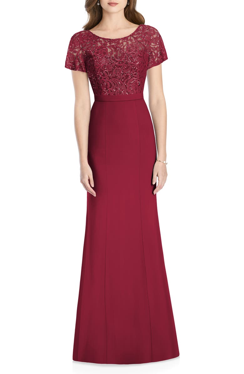 JENNY PACKHAM Embellished Lace Trumpet Gown, Main, color, BURGUNDY