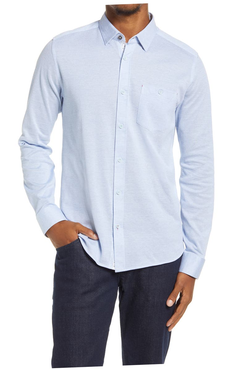 TED BAKER LONDON Wonyeer Slim Fit Button-Up Piqué Shirt, Main, color, 452