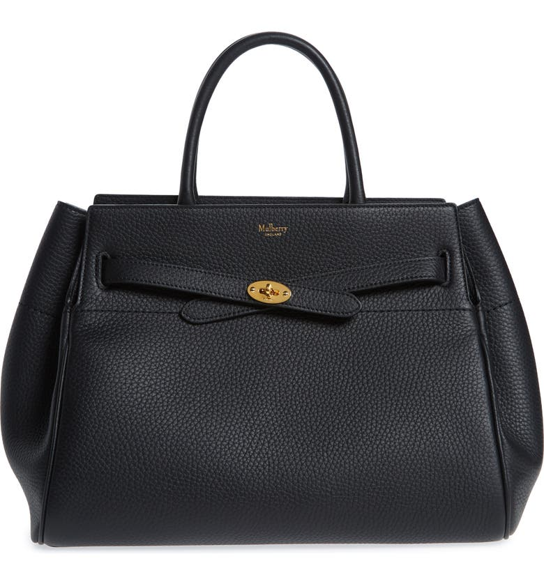 MULBERRY Belted Bayswater Grained Leather Satchel, Main, color, 001