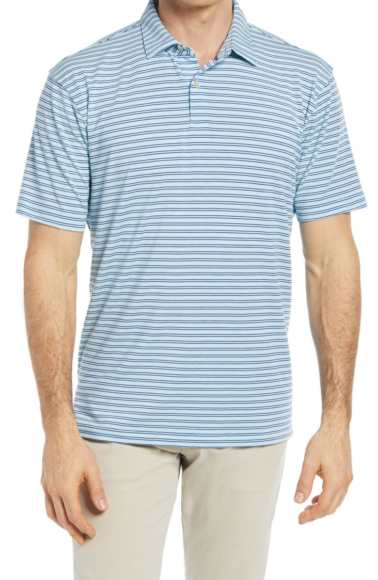 PETER MILLAR drirelease<sup>®</sup> Natural Touch Stripe Short Sleeve Performance Polo, Main, color, BAYSIDE BLUE