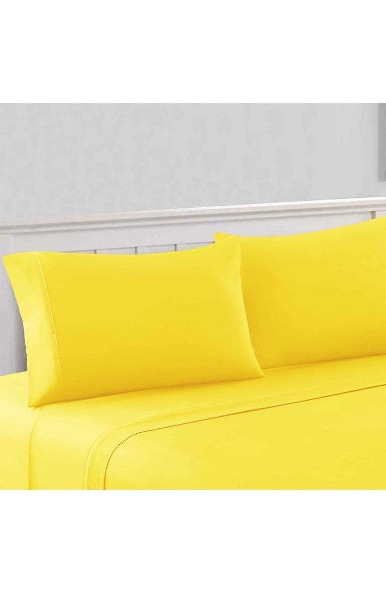 MODERN THREADS 1800 Series 100 Solid Microfiber 4-Piece Sheet Set Yellow Full, Main, color, YELLOW