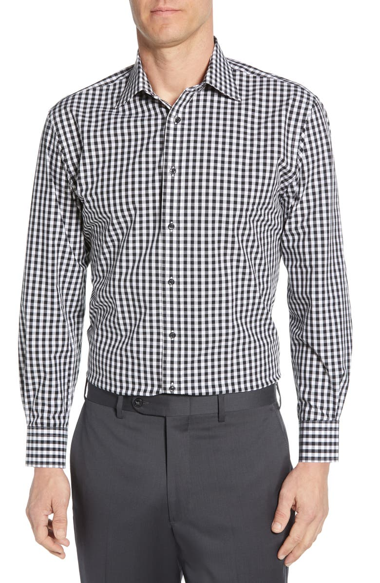 NORDSTROM MEN'S SHOP Tech-Smart Traditional Fit Stretch Check Dress Shirt, Main, color, 001