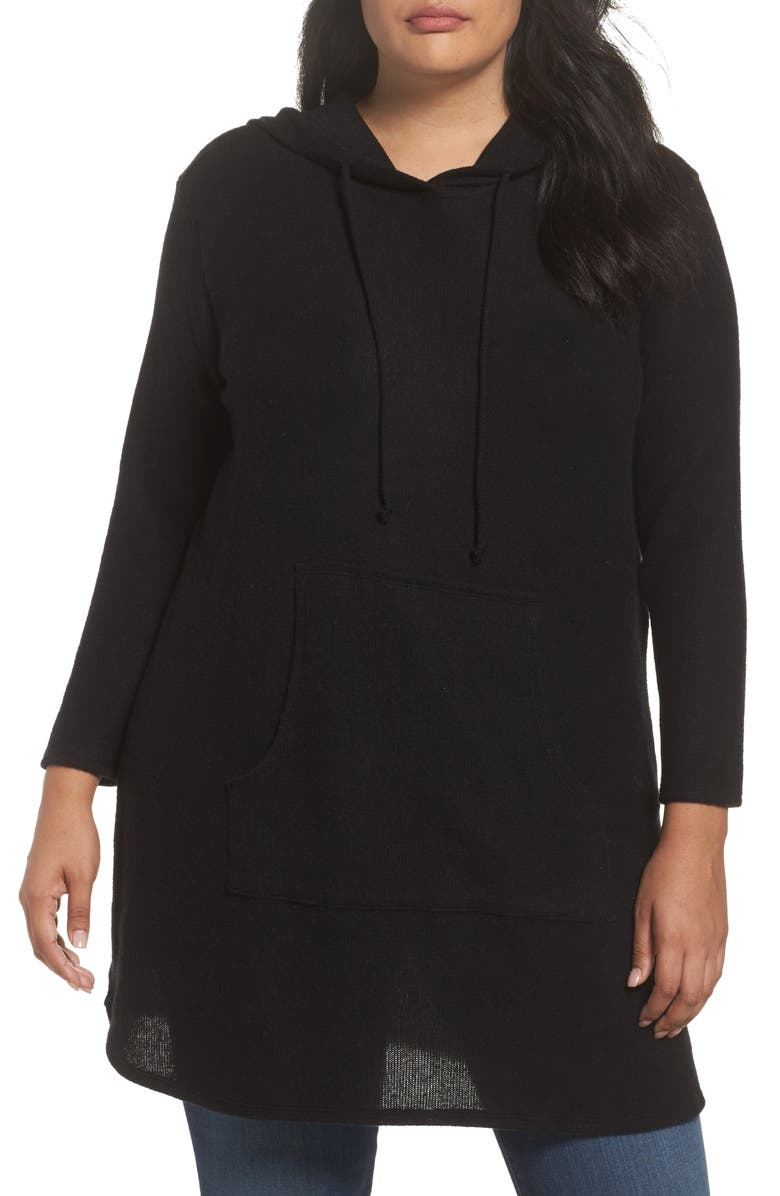 CASLON<SUP>®</SUP> Hooded Knit Tunic, Main, color, Black