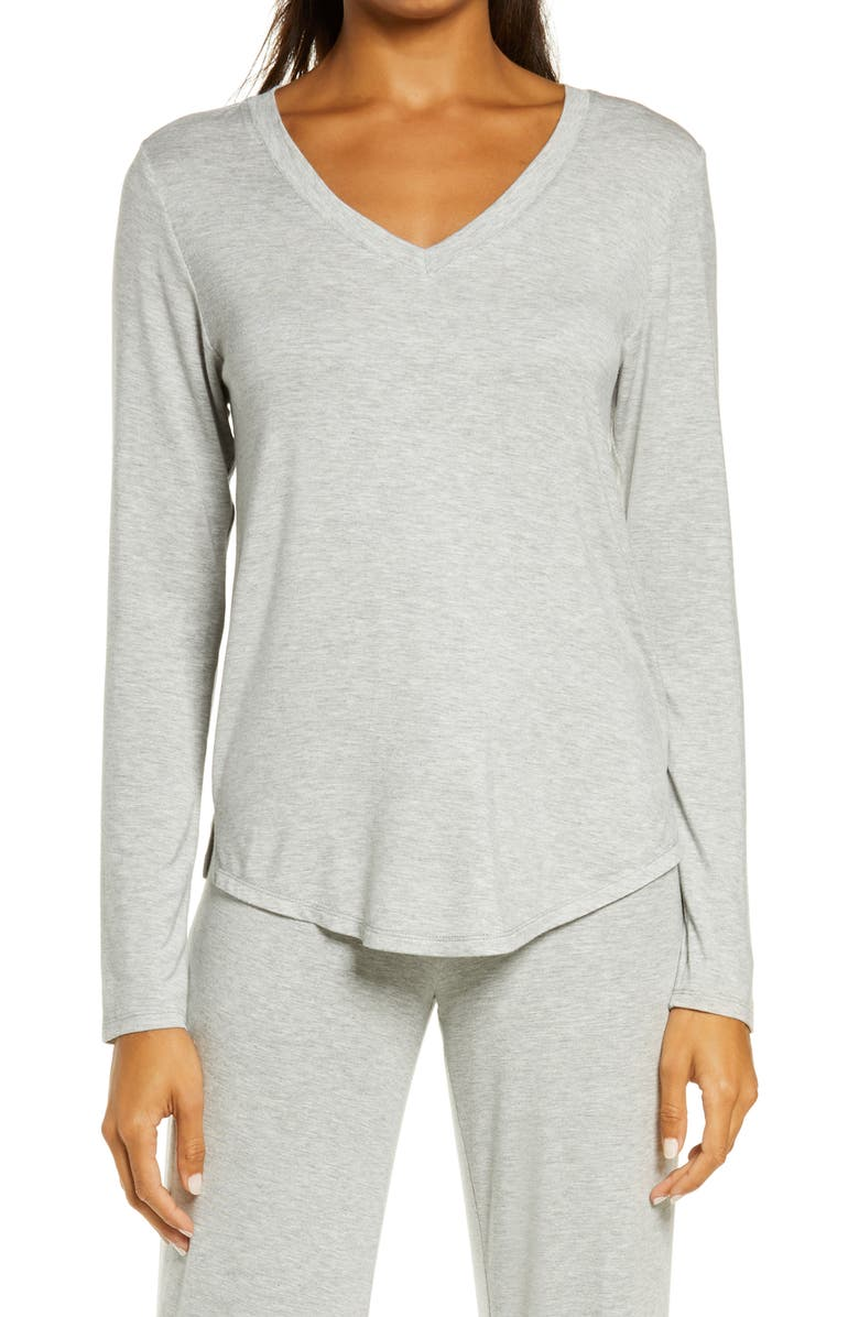 NORDSTROM Moonlight V-Neck Long Sleeve Pajama Top, Main, color, GREY HEATHER