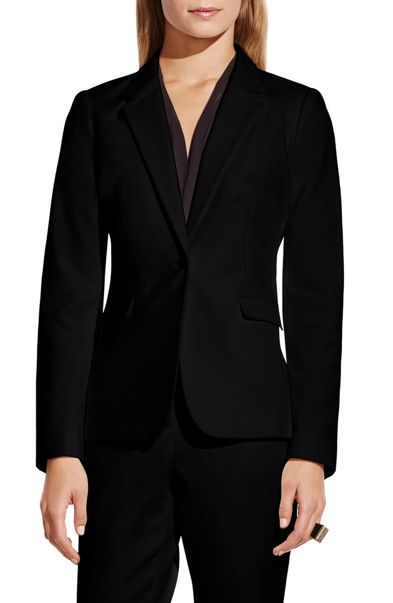 VINCE CAMUTO Stretch Cotton One-Button Blazer, Main, color, 001