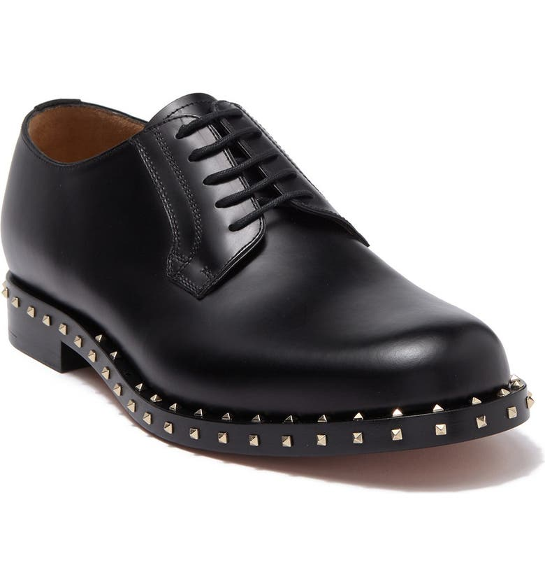 VALENTINO Studded Leather Derby, Main, color, NO NERO