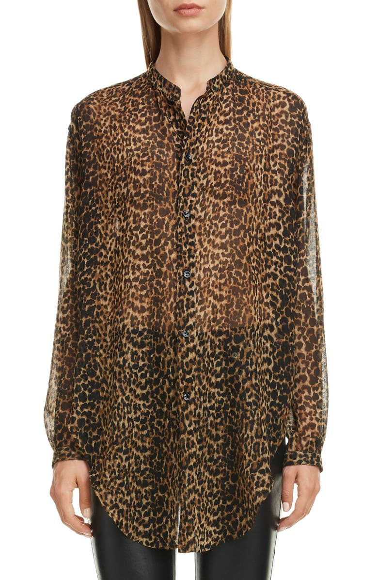 SAINT LAURENT Leopard Print Wool Tunic, Main, color, LEOPARD