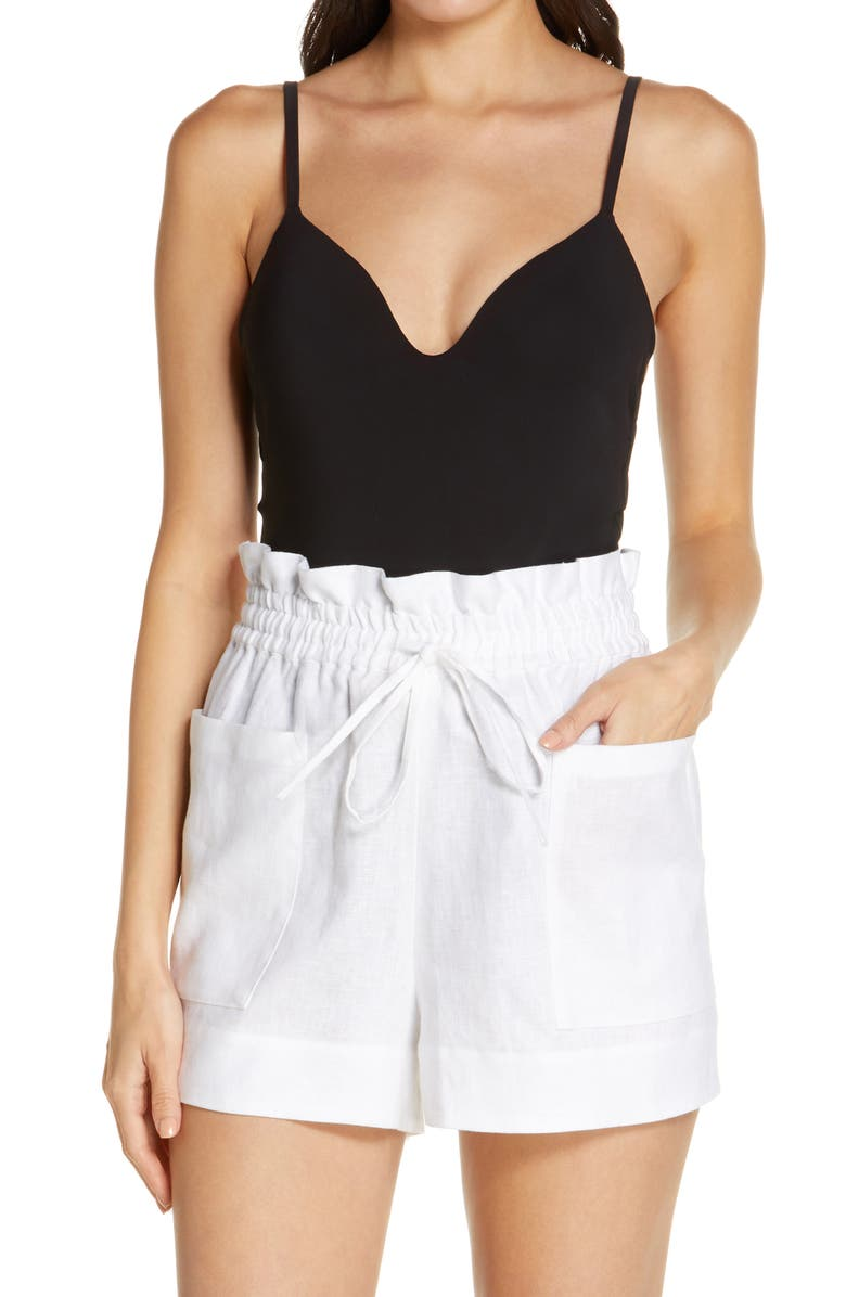 TORY BURCH Paperbag Waist Linen Shorts, Main, color, WHITE
