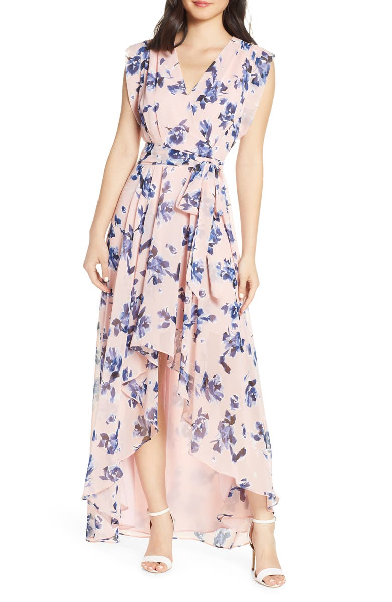 ELIZA J Floral Chiffon High/Low Maxi Dress, Main, color, BLUSH
