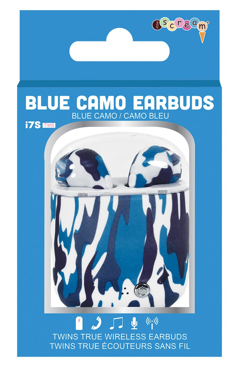 ISCREAM Blue Camo Wireless Ear Buds with Charging Case, Main, color, 400