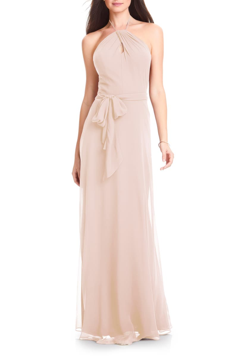#LEVKOFF Halter Chiffon A-Line Gown, Main, color, PINK