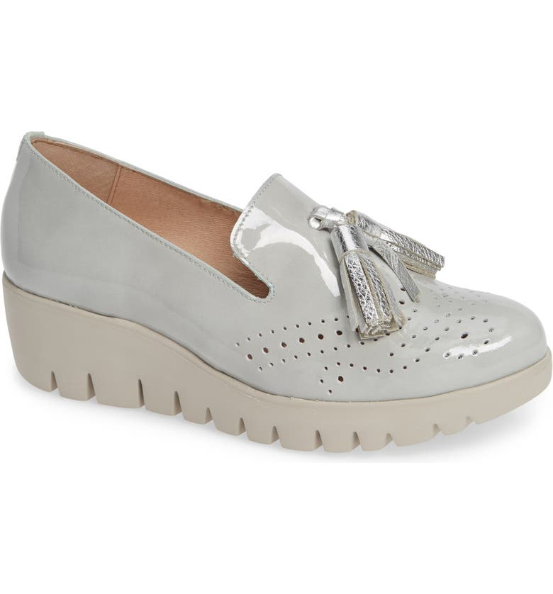 WONDERS C-3366 Loafer Wedge, Main, color, PIEDRA/ PLATA LEATHER