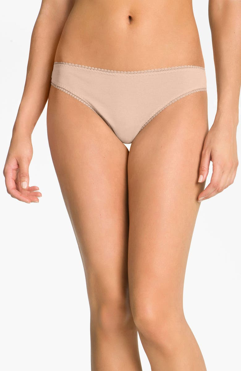 ON GOSSAMER Cabana Cotton Thong, Main, color, CHAMPAGNE
