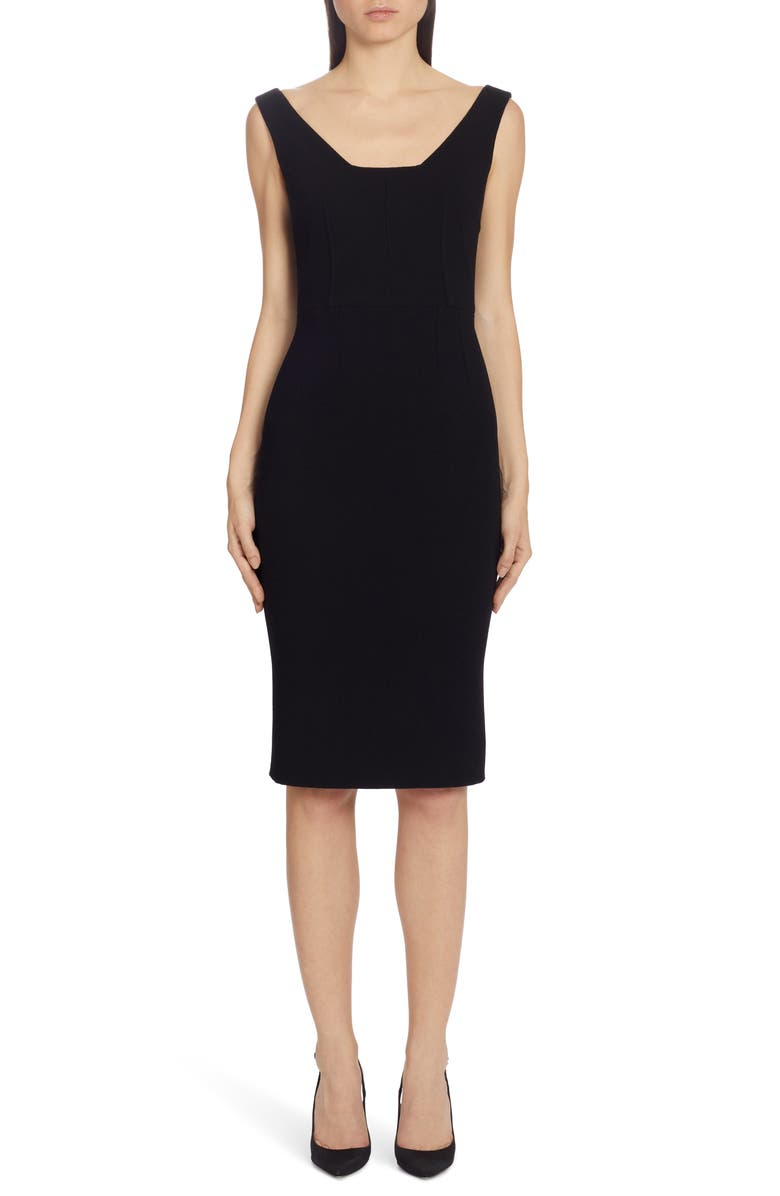 DOLCE&GABBANA Square Neck Wool Crepe Sheath Dress, Main, color, BLACK