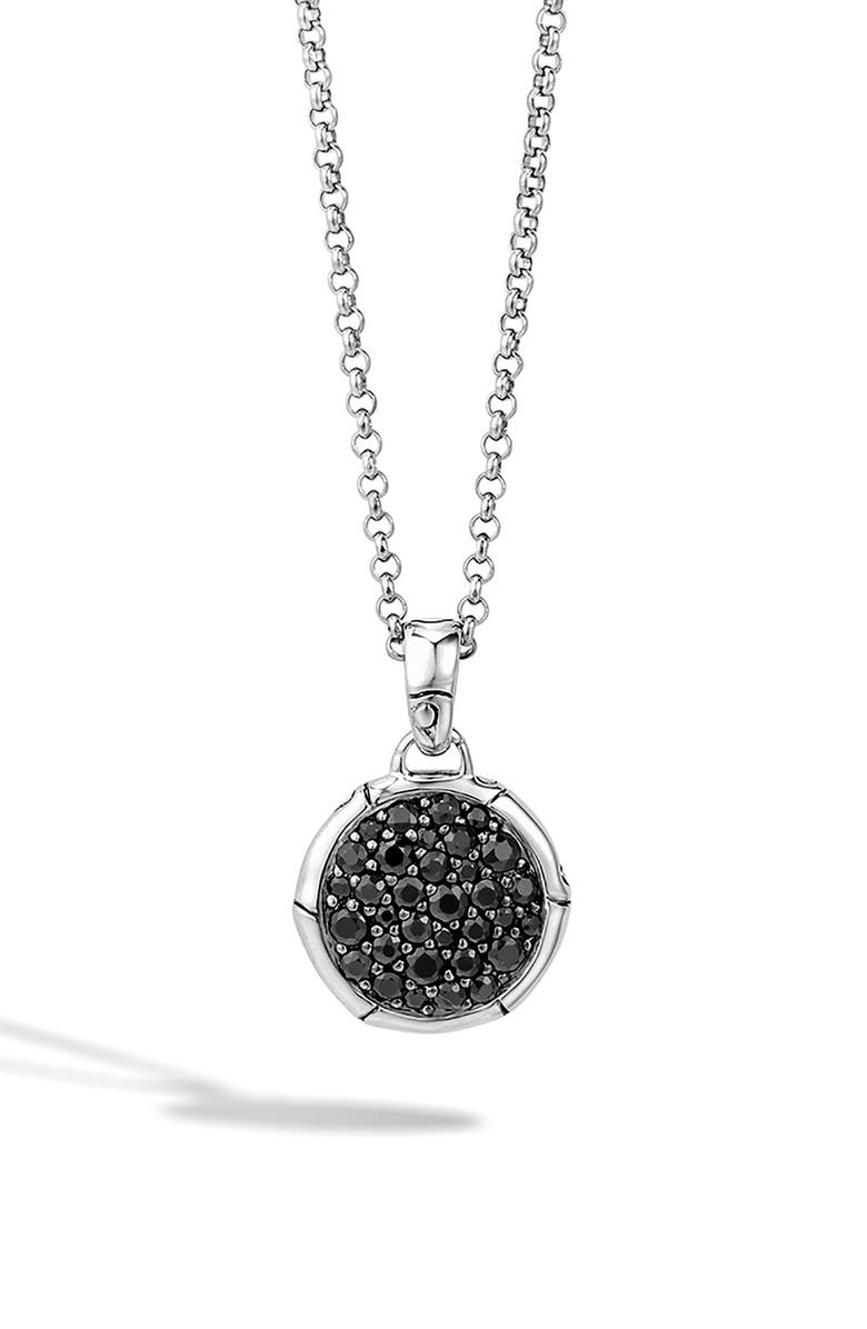 JOHN HARDY 'Bamboo' Small Round Pendant Necklace, Main, color, BLACK SAPPHIRE
