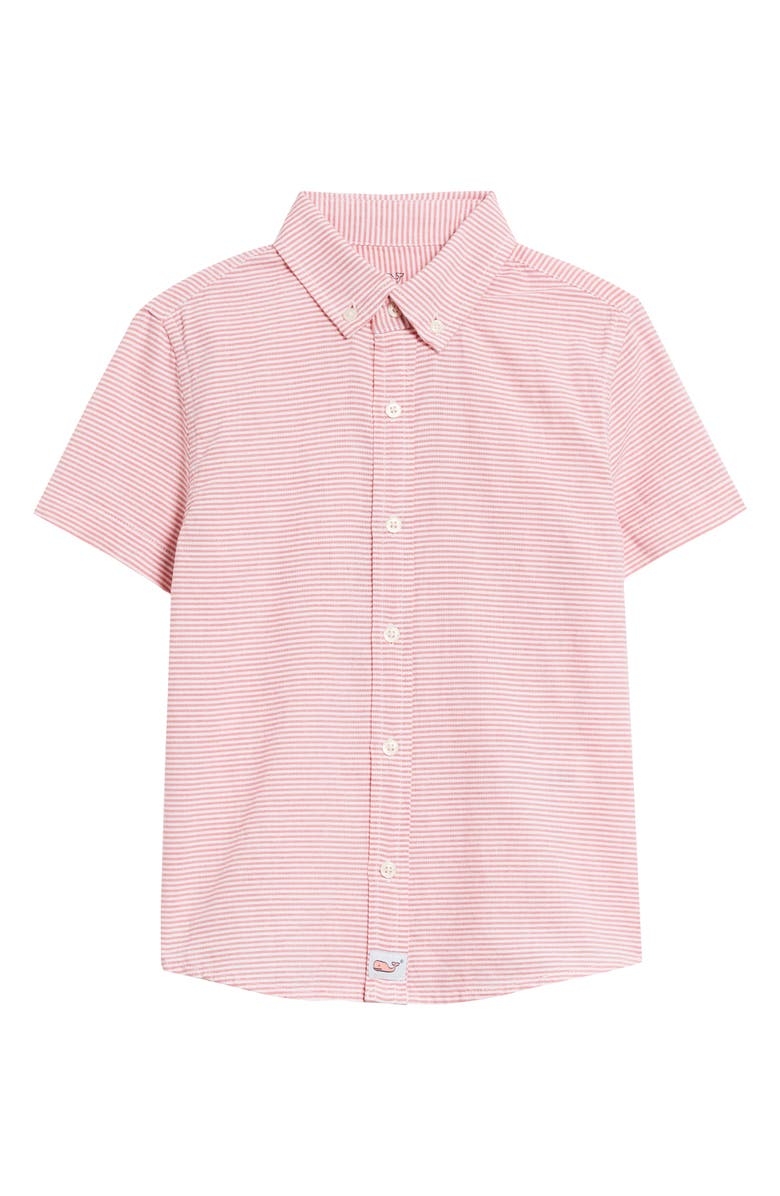 VINEYARD VINES Stripe Whale Button-Up Shirt, Main, color, JETTY RED