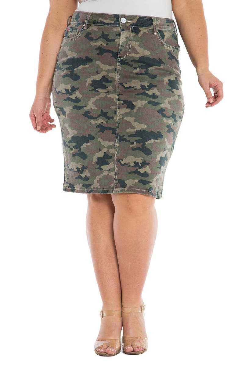 SLINK JEANS The Skirt, Main, color, ARMY CAMO