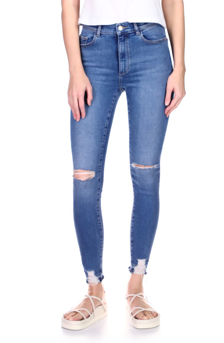 DL1961 Farrow High Waist Ankle Skinny Jeans, Main, color, RIP TIDE DISTRESSED