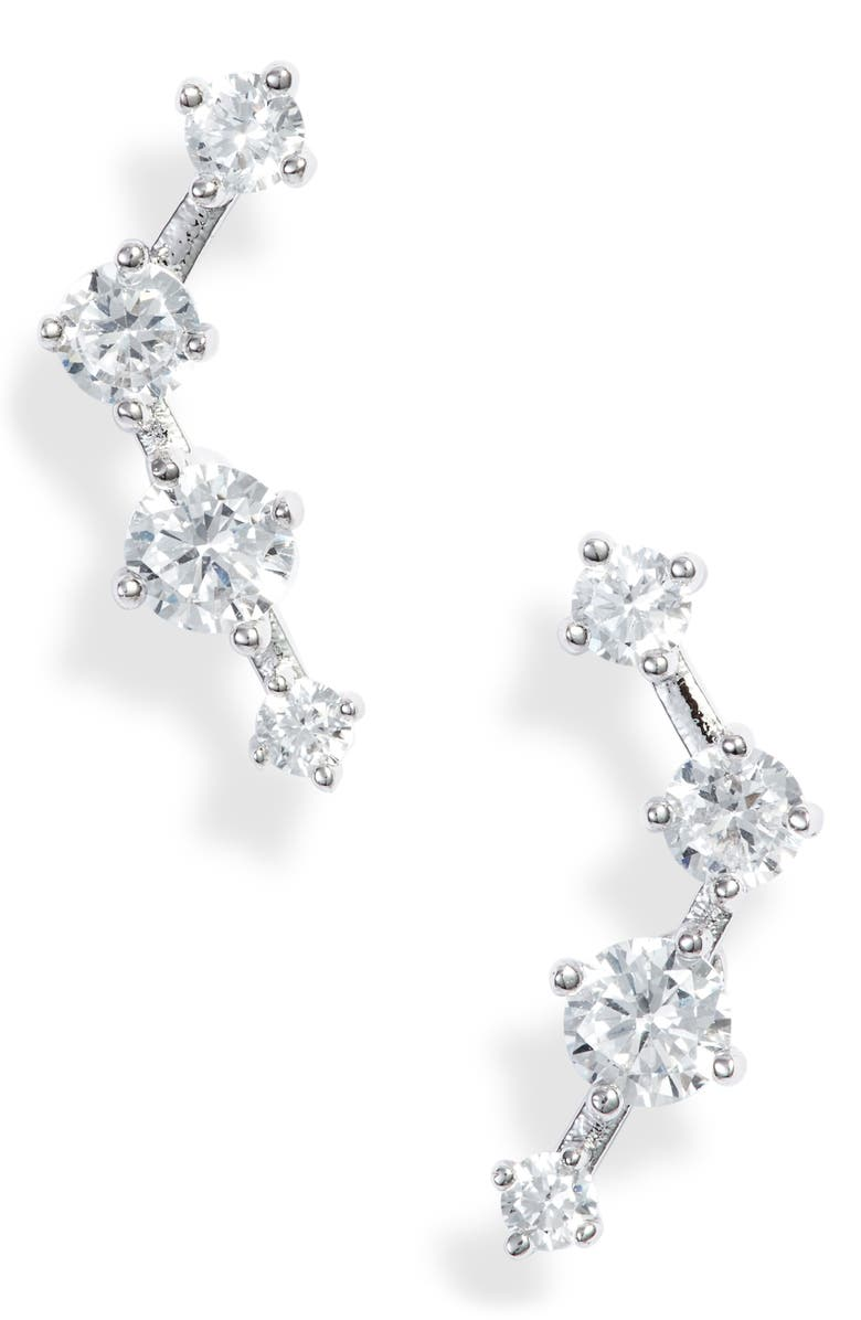 NORDSTROM Cubic Zirconia Ear Crawlers, Main, color, CLEAR- SILVER