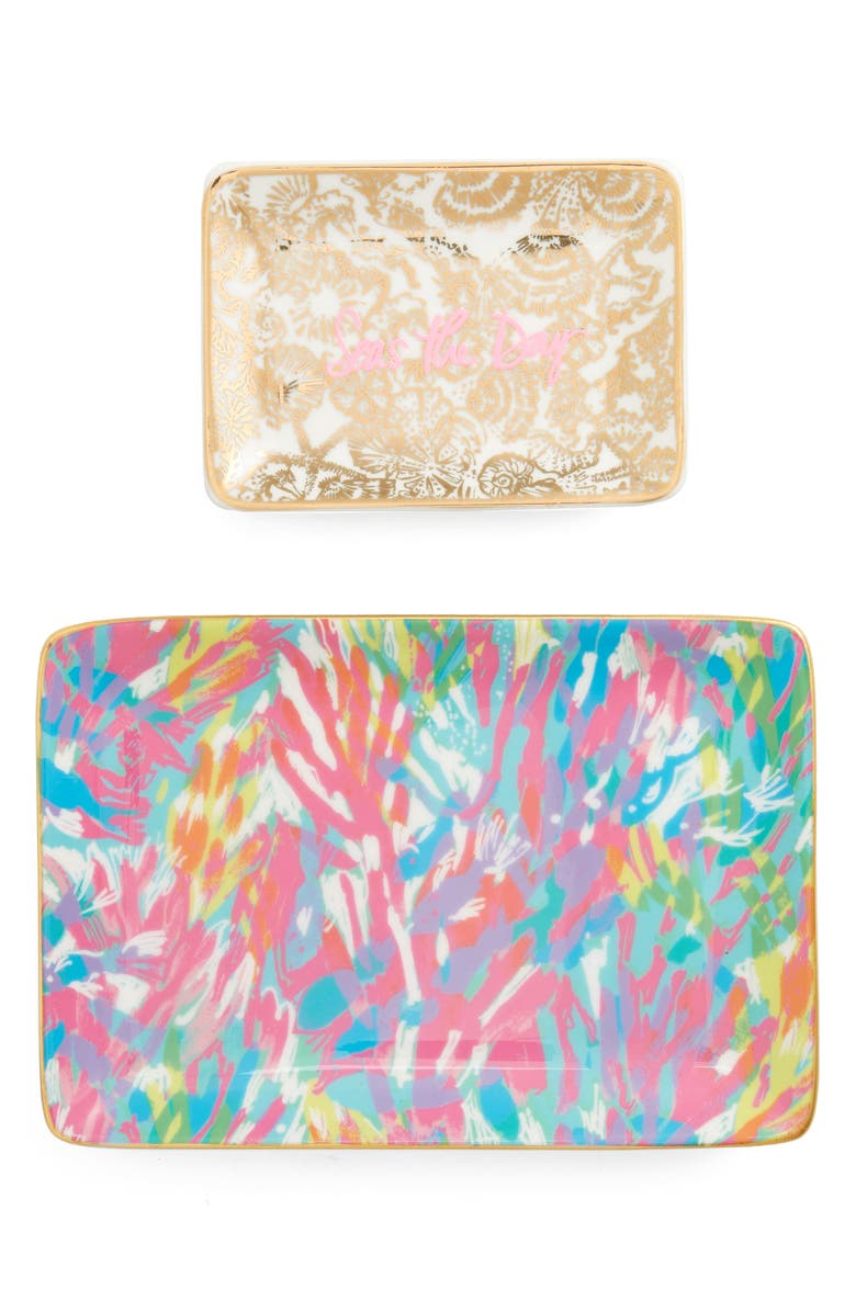 LILLY PULITZER<SUP>®</SUP> Set of 2 Ceramic Trinket Trays, Main, color, 450