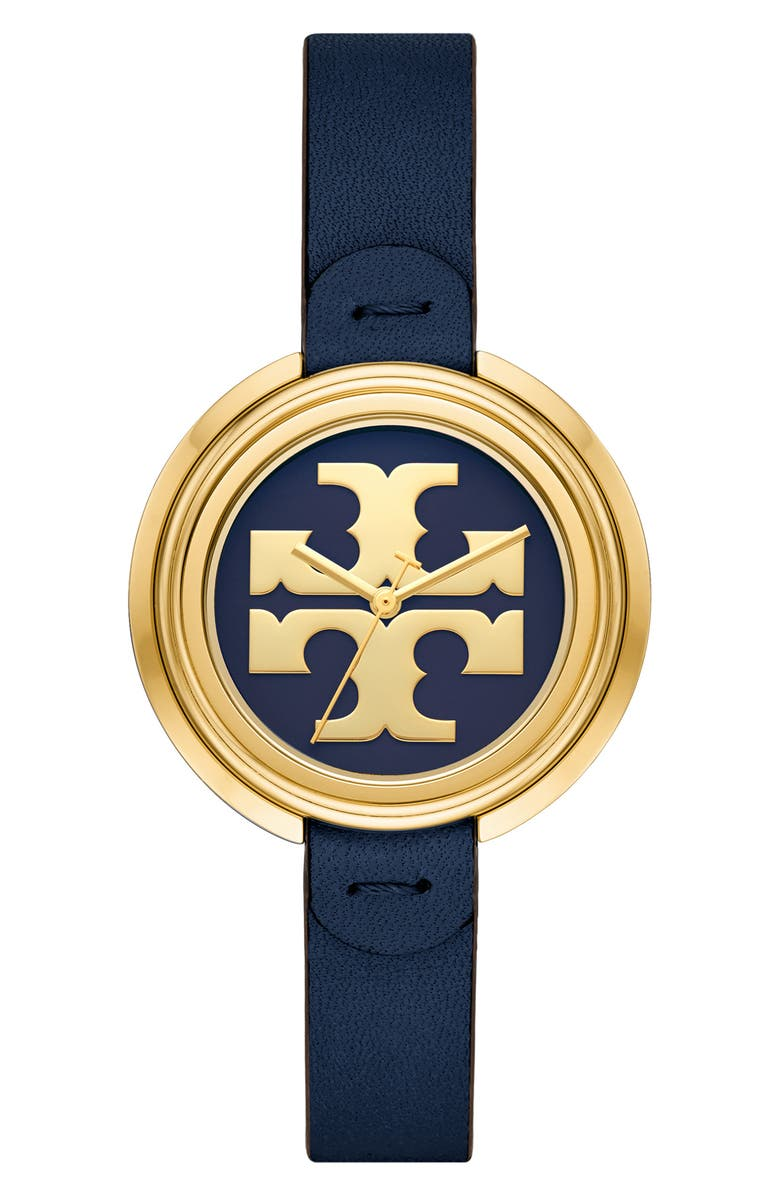 TORY BURCH The Miller Leather Strap Watch, 36mm, Main, color, BLUE/ GOLD