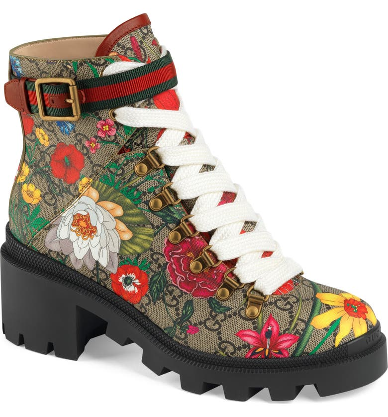 GUCCI Trip GG Floral GG Supreme Combat Boot, Main, color, 257