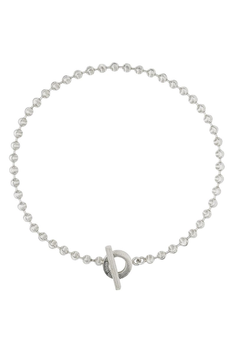 GUCCI Boule Toggle Necklace, Main, color, STERLING SILVER