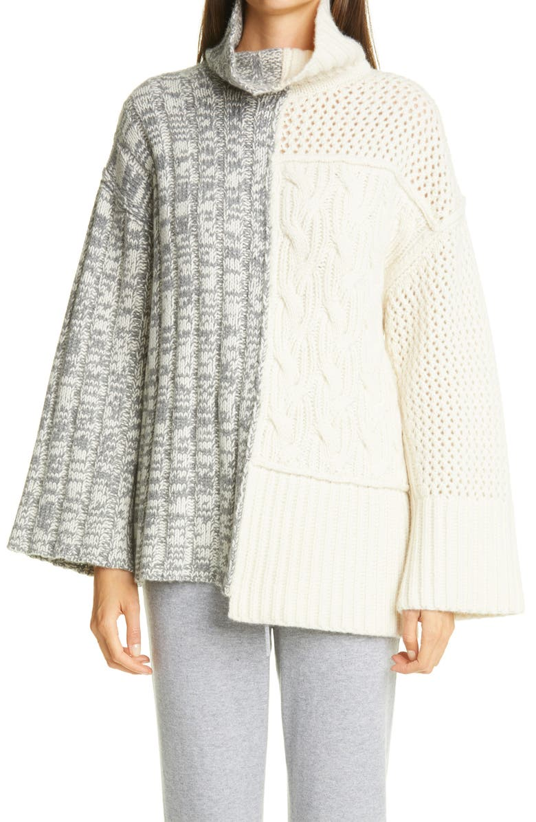 ST. JOHN COLLECTION Mixed Cable Knit Sweater, Main, color, 030