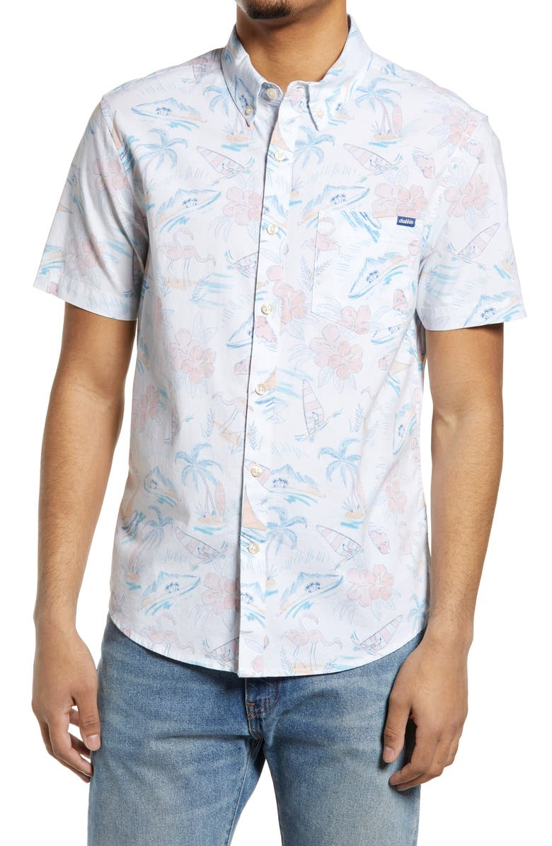 CHUBBIES The Ocean View Stretch Short Sleeve Button-Down Shirt, Main, color, OPEN WHITE